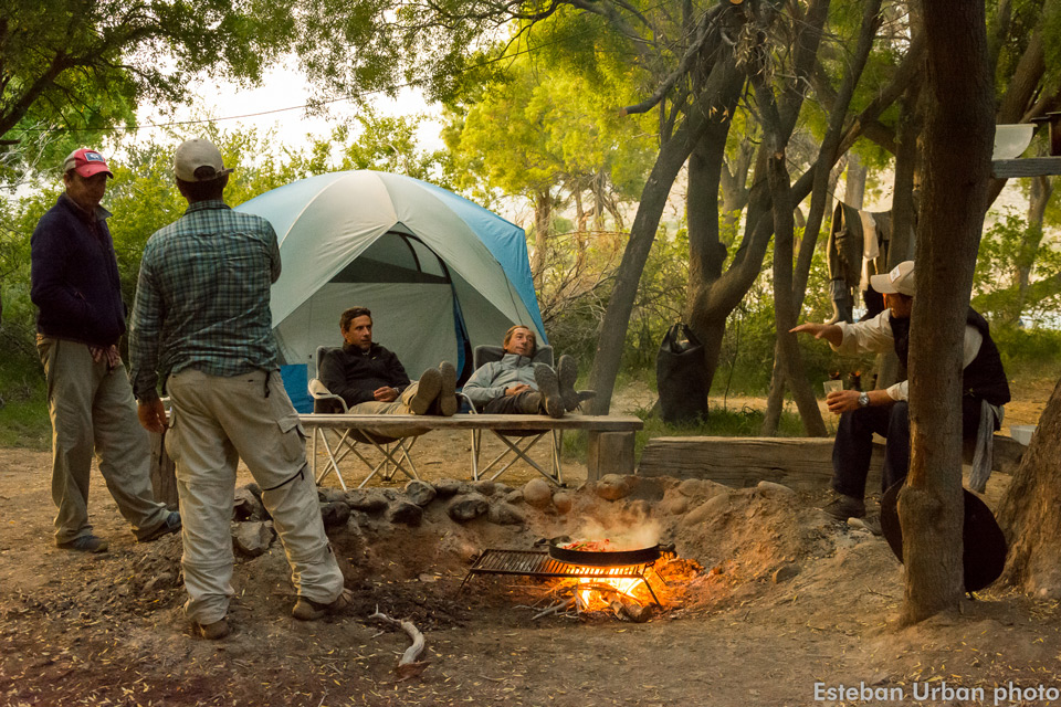 SouthernLoops riverside camp trips - enjoying the campfire on the Caleufu River