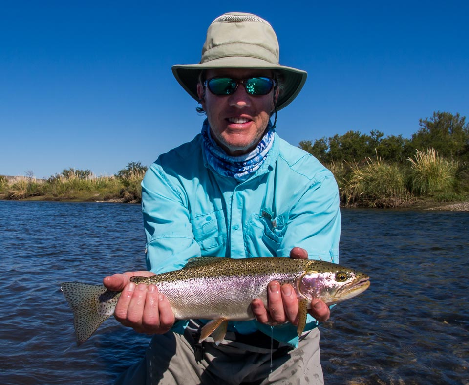 Serious brown caught on minnows while wading the lower Caleufu River - Patagonia Argentina.